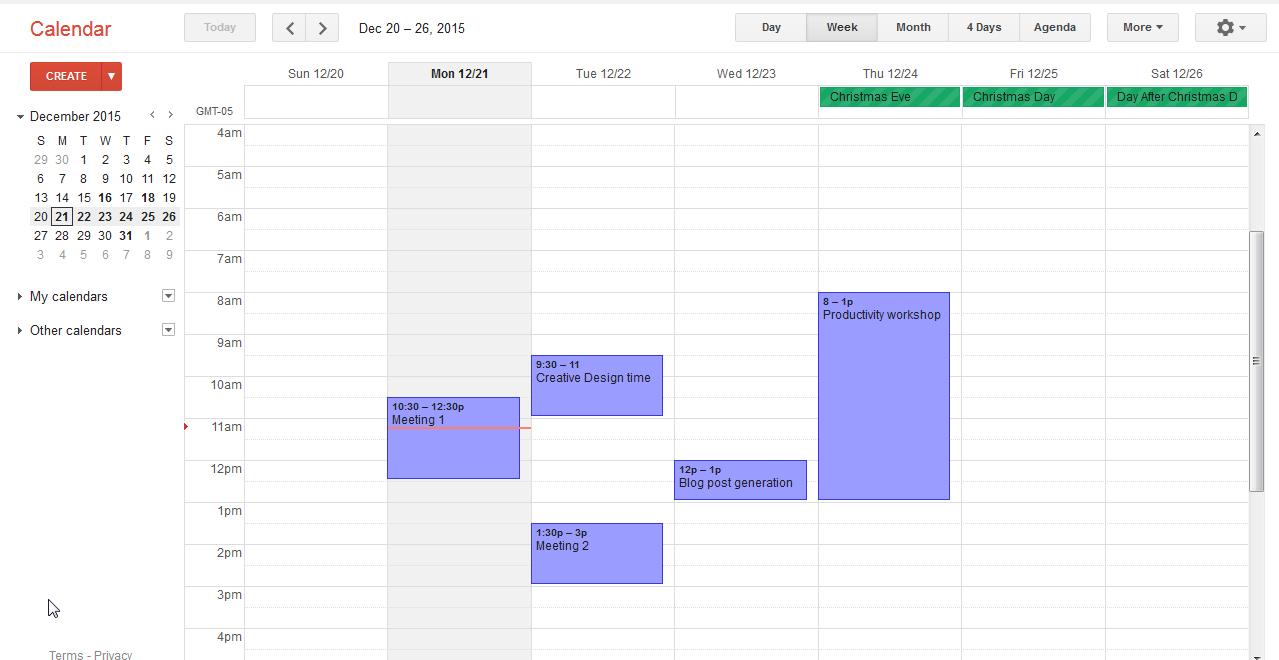 weekly calendar schedule view