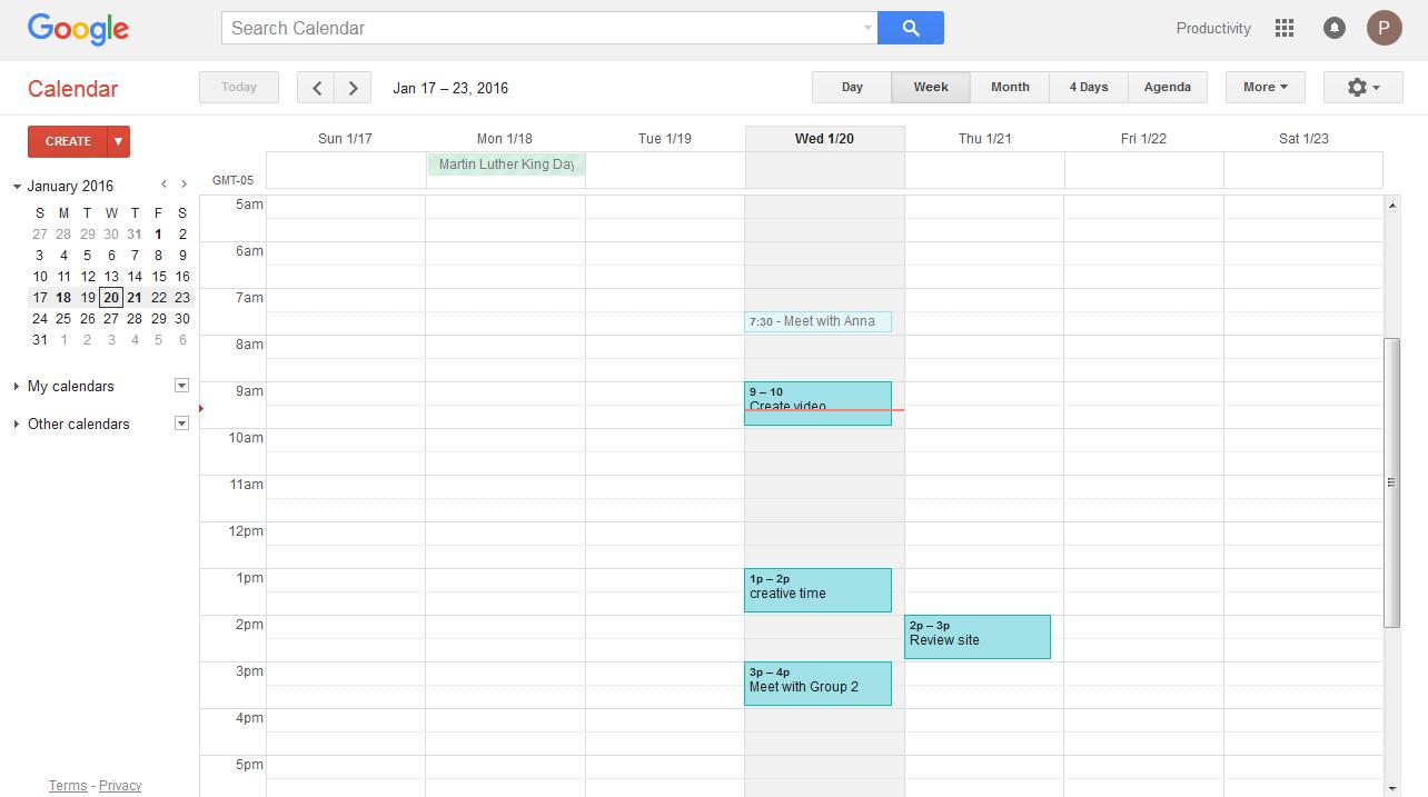 daily calendar review