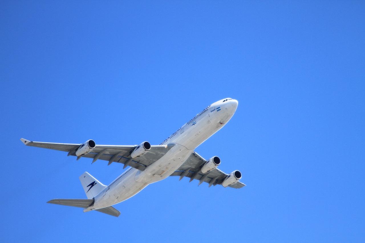 plane flying in blue sky