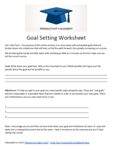 goal setting worksheet template